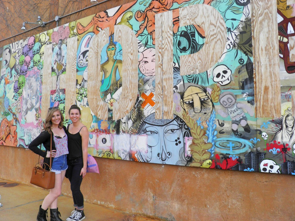"Here's another picture of my little and I exploring The CAMP by the amazing ""Hope"" murial!"